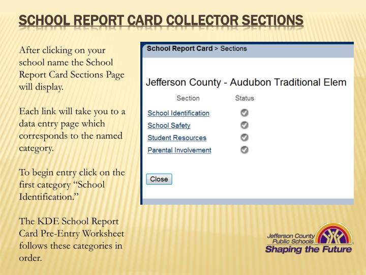 School REPORT CARD COLLECTOR SECTIONS