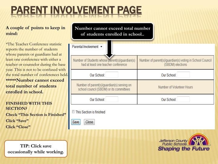 Parent Involvement page
