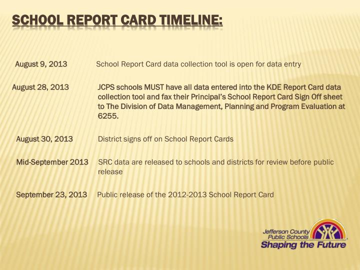 School Report Card Timeline: