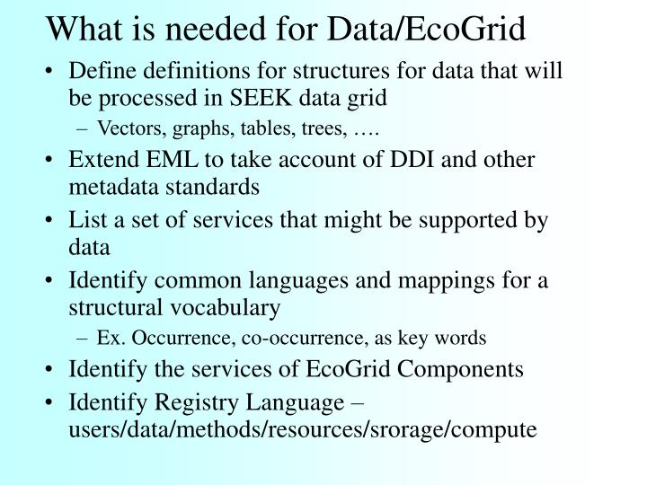 What is needed for Data/EcoGrid