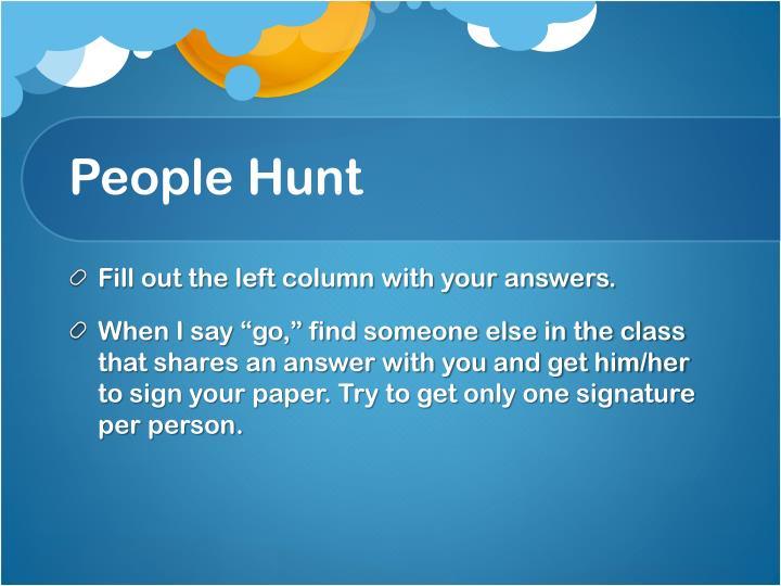 People hunt