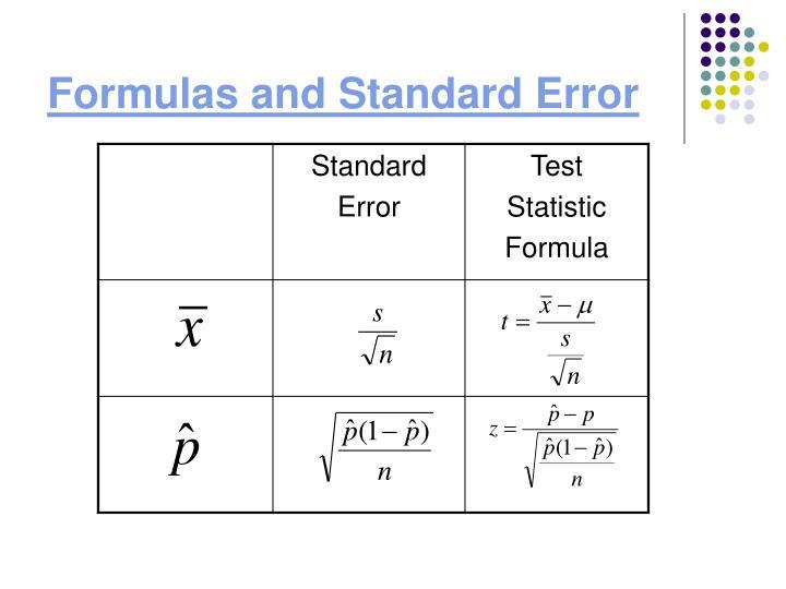 Formulas and Standard Error