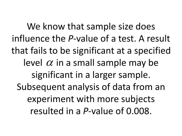 We know that sample size does influence the