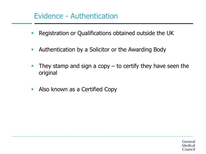 Evidence - Authentication