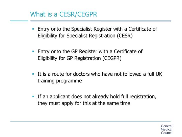 What is a CESR/CEGPR