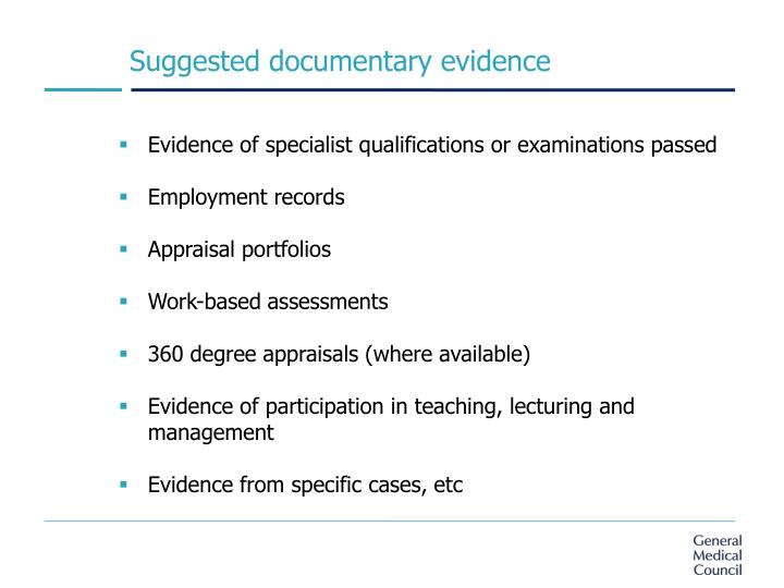 Suggested documentary evidence