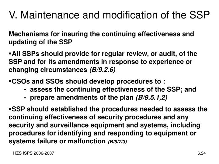 V. Maintenance and modification of the SSP