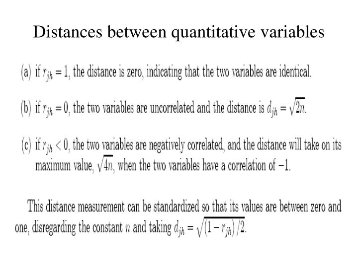 Distances between quantitative variables