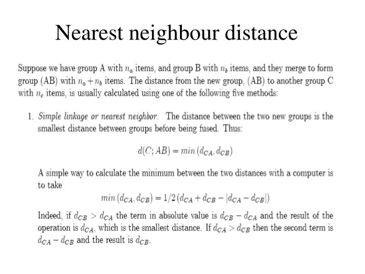 Nearest neighbour distance