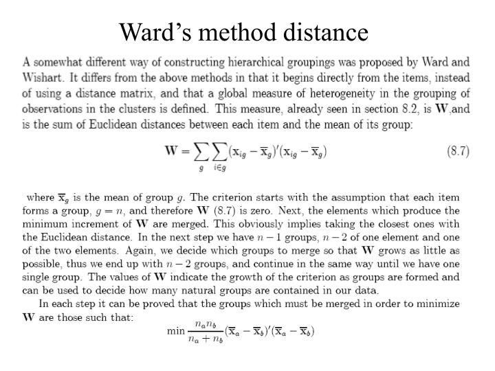 Ward's method distance