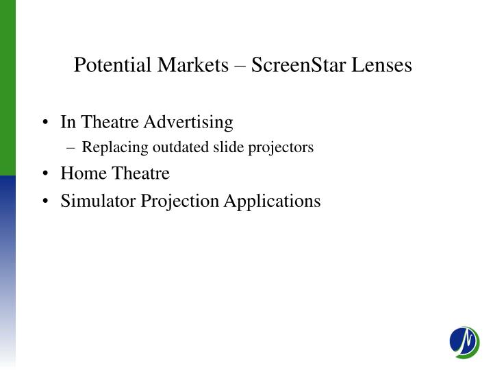 Potential Markets – ScreenStar Lenses