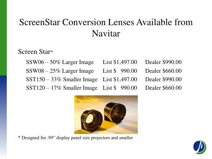 ScreenStar Conversion Lenses Available from Navitar