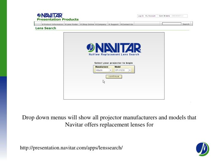 Drop down menus will show all projector manufacturers and models that Navitar offers replacement lenses for