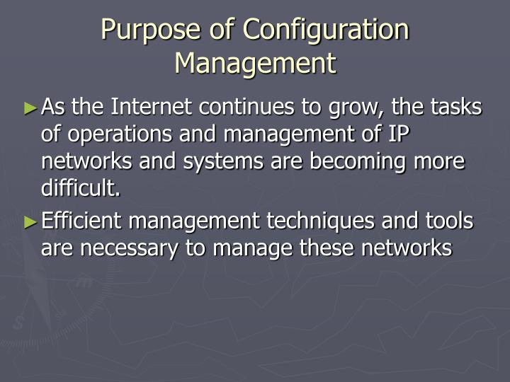 Purpose of configuration management