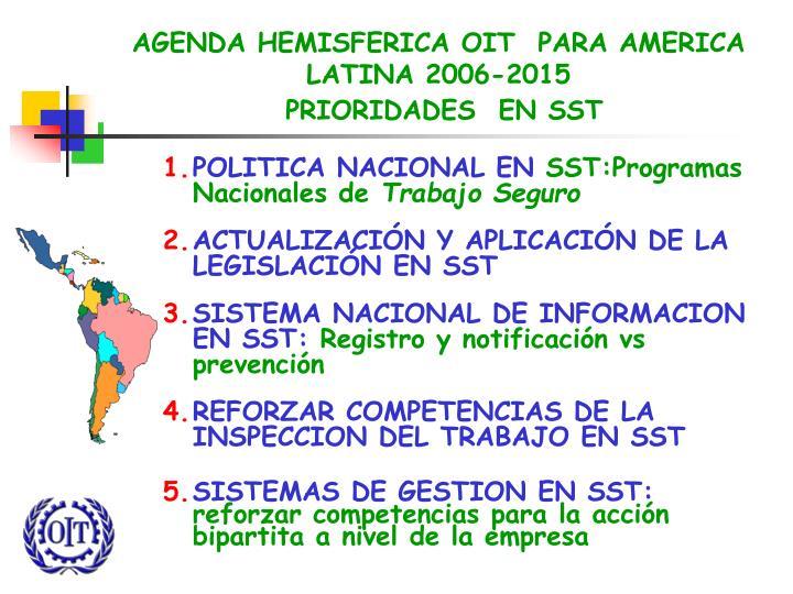 AGENDA HEMISFERICA OIT  PARA AMERICA LATINA 2006-2015