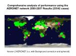 comprehensive analysis of performance using the aeronet network 2000 2007 results 25542 cases