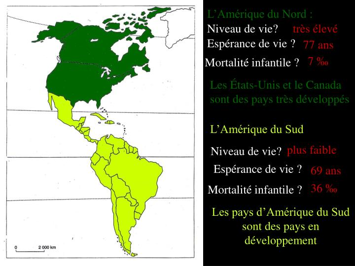 L'Amérique du Nord :