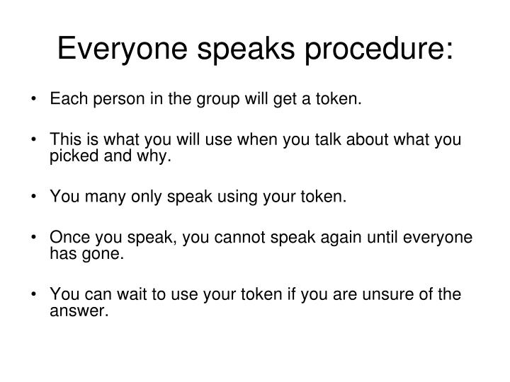 Everyone speaks procedure: