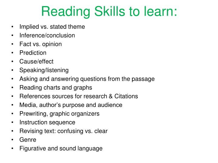 Reading Skills to learn: