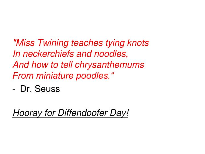 """Miss Twining teaches tying knots"