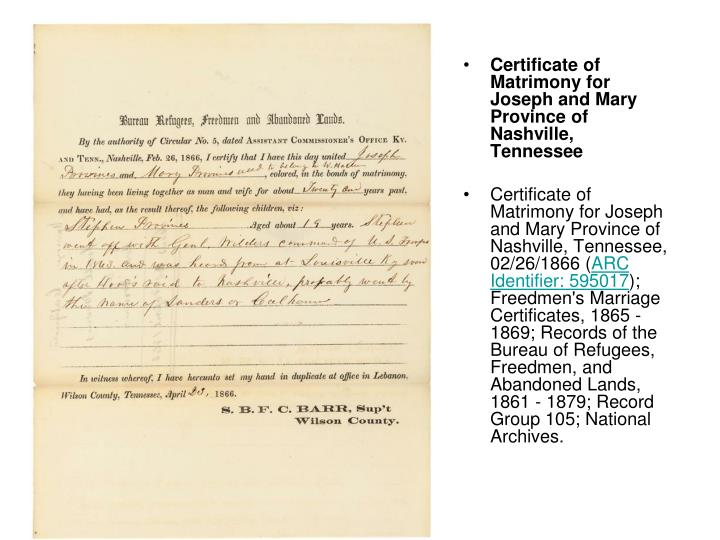 Certificate of Matrimony for Joseph and Mary Province of Nashville, Tennessee