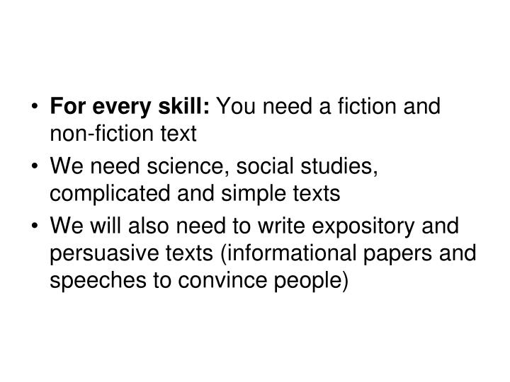 For every skill: