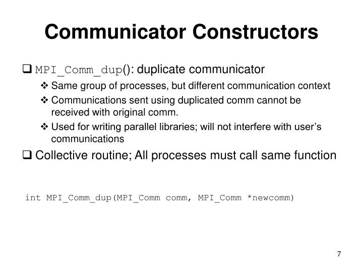 Communicator Constructors