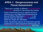 area 1 dangerousness and threat assessment