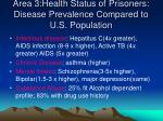 area 3 health status of prisoners disease prevalence compared to u s population
