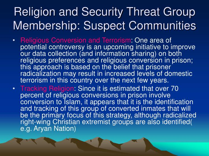 Religion and Security Threat Group Membership: Suspect Communities