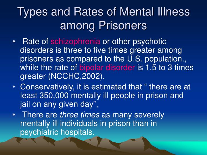Types and Rates of Mental Illness among Prisoners