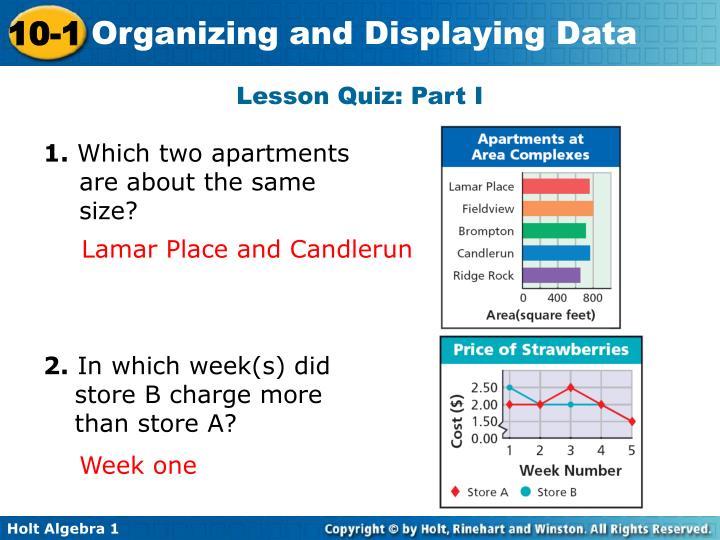 Lesson Quiz: Part I