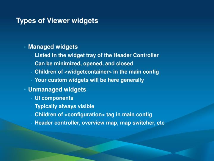 Types of Viewer widgets