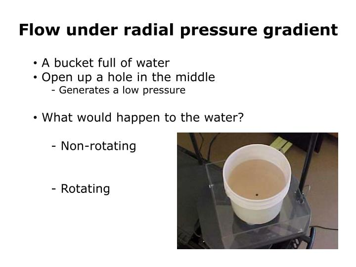 Flow under radial pressure gradient