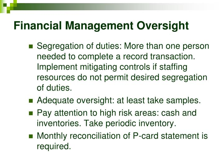 Financial Management Oversight