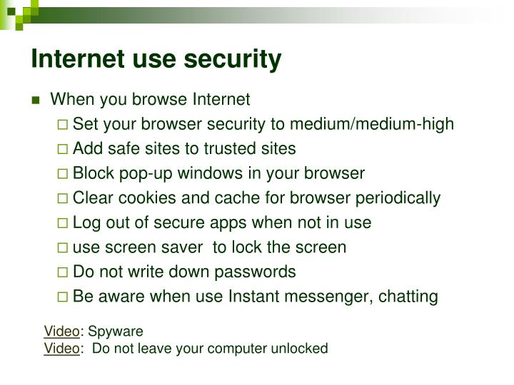Internet use security