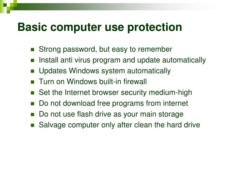 Basic computer use protection