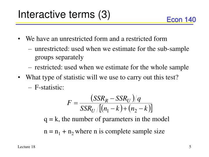 Interactive terms (3)