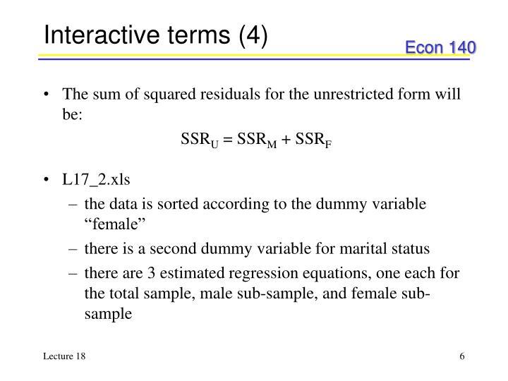 Interactive terms (4)