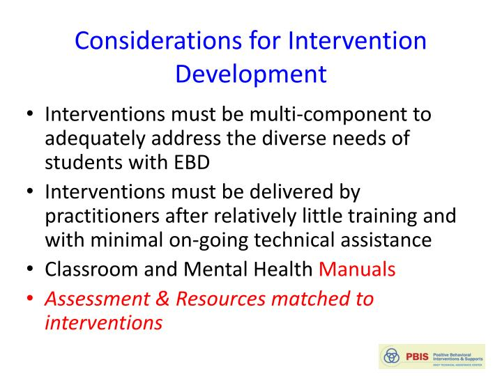 Considerations for Intervention Development