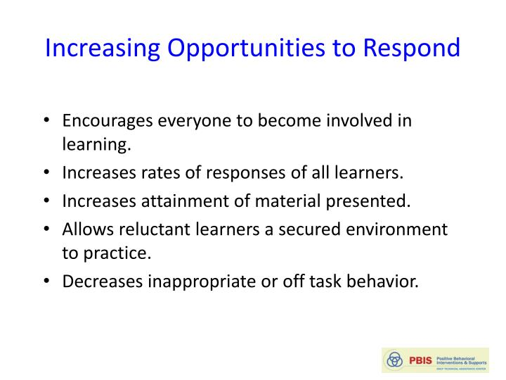 Increasing Opportunities to Respond