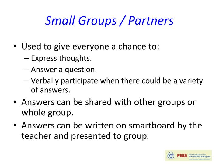 Small Groups / Partners