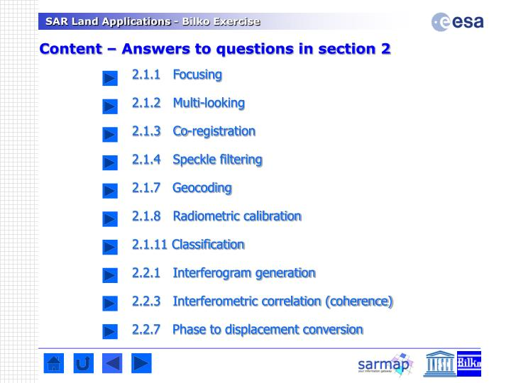 Content – Answers to questions in section 2