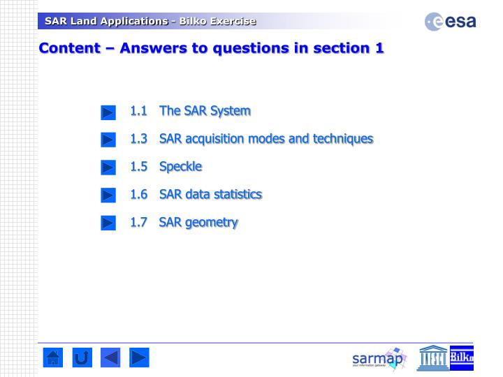 Content – Answers to questions in section 1
