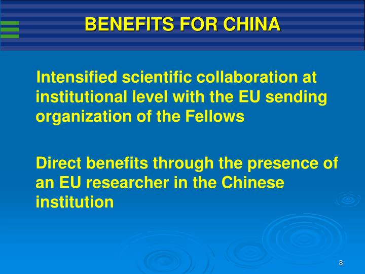 BENEFITS FOR CHINA