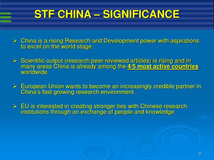 STF CHINA – SIGNIFICANCE