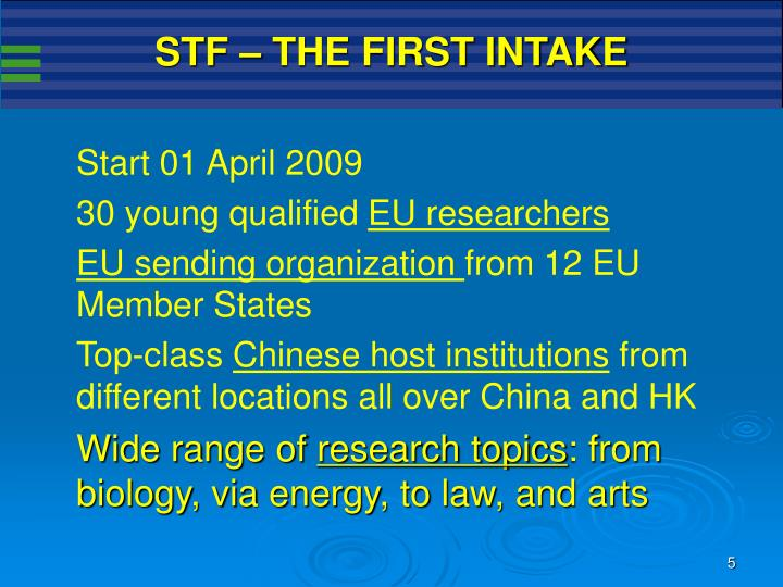 STF – THE FIRST INTAKE