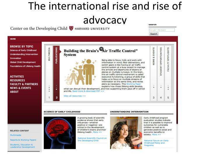The international rise and rise of advocacy