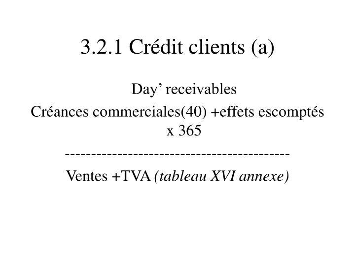 3.2.1 Crédit clients (a)