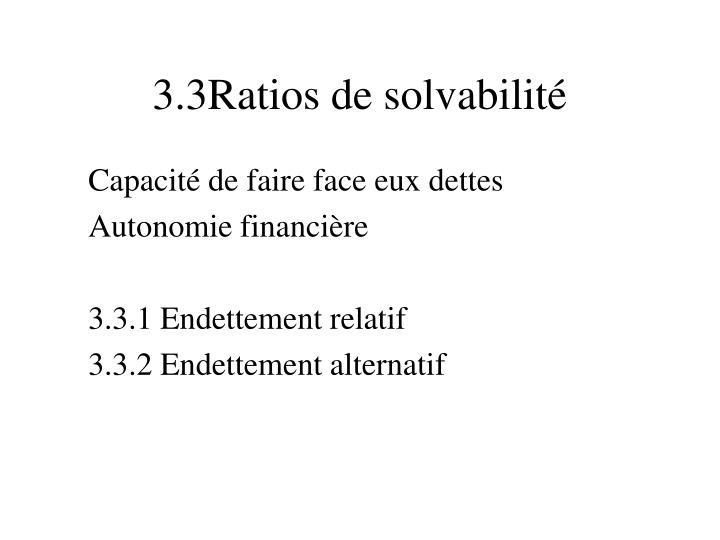 3.3Ratios de solvabilité